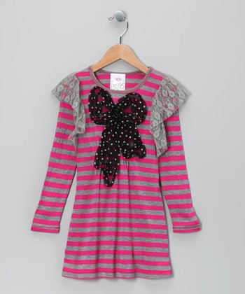 Fuchsia & Gray Lace Ruffle Dress - Toddler & Girls