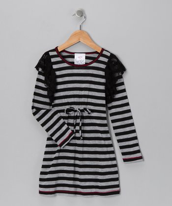 Gray & Black Stripe Dress - Toddler