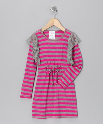 Gray & Fuchsia Stripe Dress - Toddler & Girls