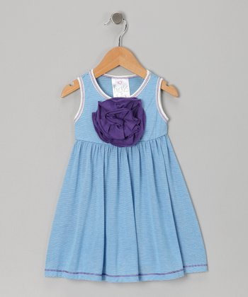 Blue Stripe Peony Babydoll Dress - Infant