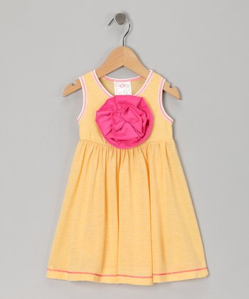 Yellow Stripe Peony Babydoll Dress - Infant