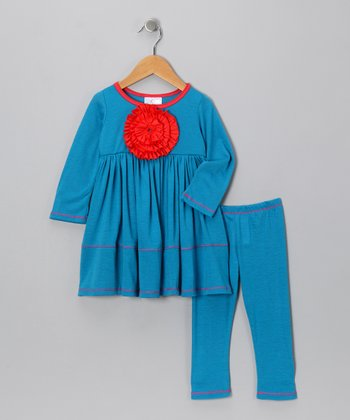 Turquoise Peony Tunic & Leggings - Toddler & Girls