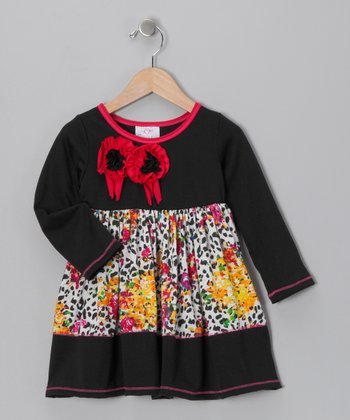 Black Cheetah Floral Dress - Toddler & Girls