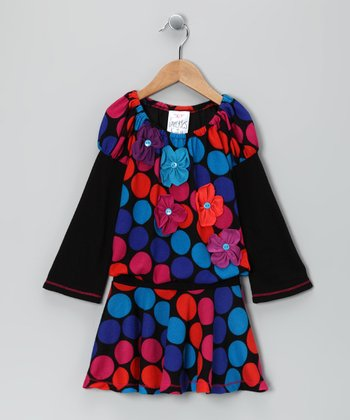 Black Polka Dot Flower Drop-Waist Dress - Toddler
