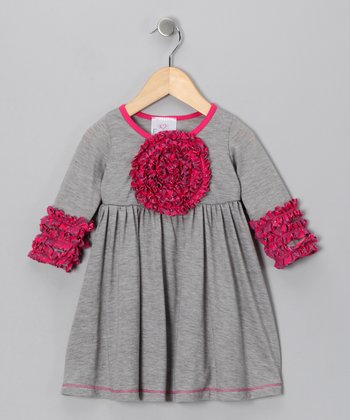 Gray Blooming Rose Dress - Girls