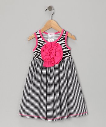 Pink Zebra Peony Dress - Infant
