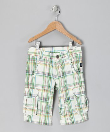 Fred Bare White & Green Plaid Cargo Shorts - Toddler & Boys