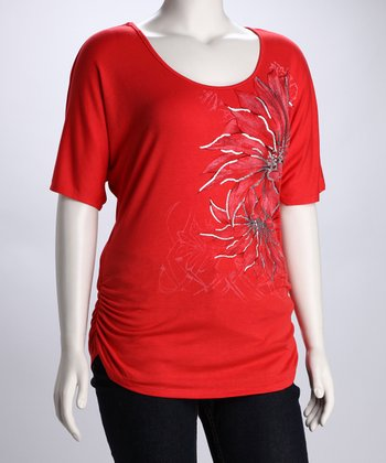 Red & Silver Abstract Dahlia Plus-Size Top