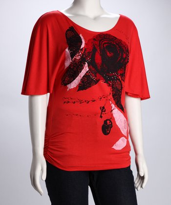 Red & Black Abstract Rose Plus-Size Top
