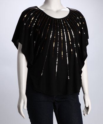 Black Sequin Burst Plus-Size Cape-Sleeve Top