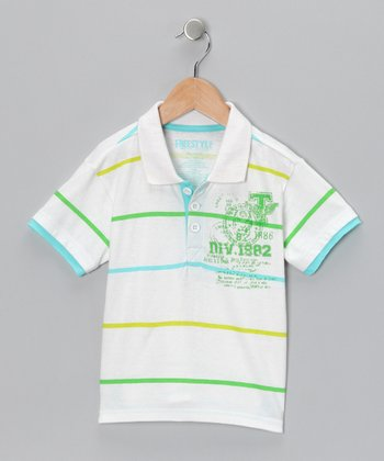 White Stripe Layered Polo - Toddler