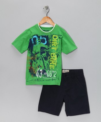 Green 'Dirt Bike' Tee & Shorts - Boys