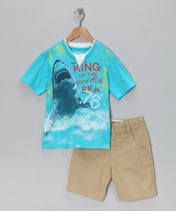 Blue 'King of the Deep Blue Sea' Tee & Shorts - Boys