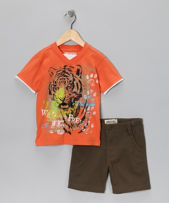 Orange Roaring Tiger Tee & Shorts - Boys