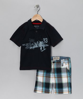 Navy 'Wildcat' Polo & Shorts - Boys