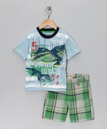 Blue 'Alligator' Tee & Shorts - Boys