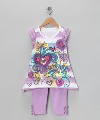 Purple Stripe Heart Top & Leggings - Girls