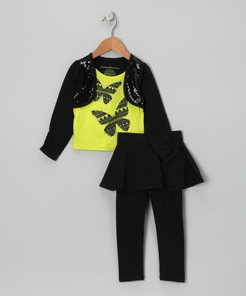 Black & Yellow Layered Top & Skirted Leggings - Toddler