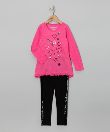 Pink & Black Burnout Tunic & Leggings - Toddler