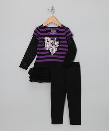 Purple & Black Stripe Dress & Leggings - Toddler