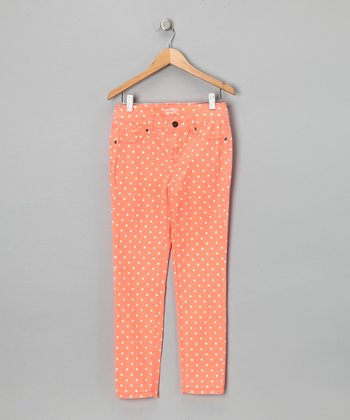 Orange Gabrielle Polka Dot Skinny Jeans - Girls