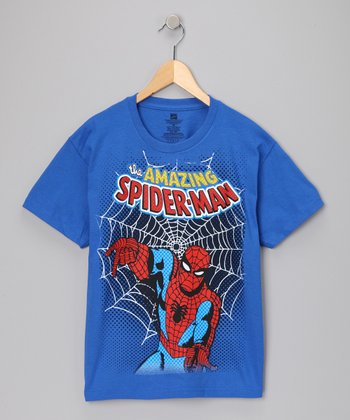 Royal Blue Spider-Man Web Tee - Kids