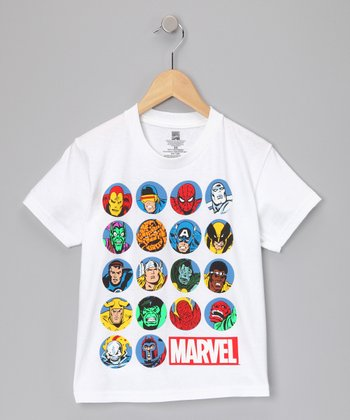 White 'Marvel' Superhero Yearbook Tee - Kids