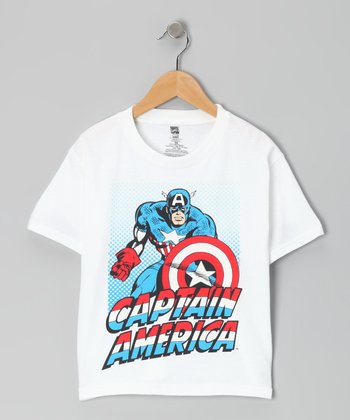 White 'Captain America' Tee - Kids