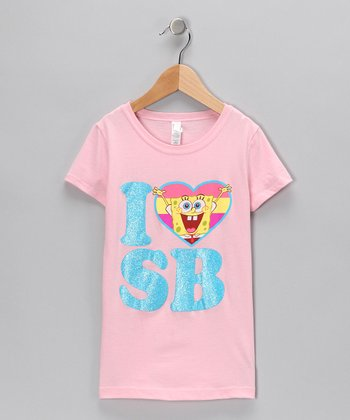 Light Pink 'I Love SB' Tee - Girls