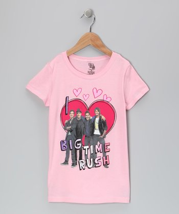 Light Pink Heart 'Big Time Rush' Tee - Girls