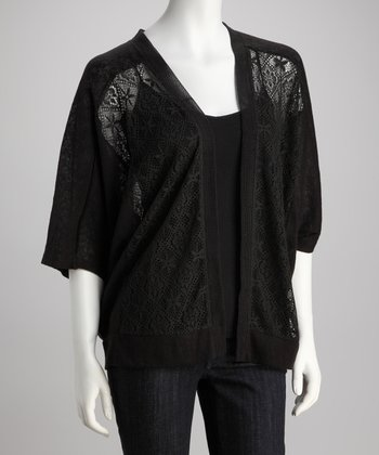 Jet Black Crocheted Open Cardigan