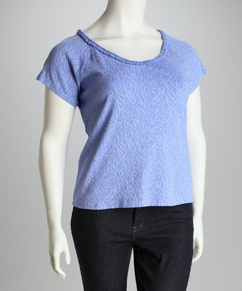 Periwinkle Blue Plus-Size Angel-Sleeve Tee