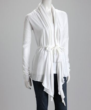 White Knit Tie-Waist Open Cardigan