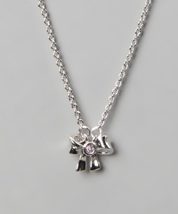 Silver & Pink Bow Necklace