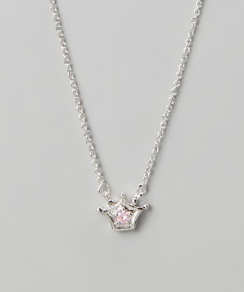 Silver & Pink Crown Necklace