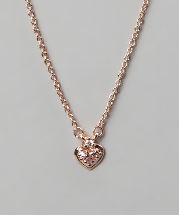 Gold & Pink Heart Necklace