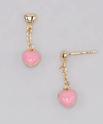 Gold & Pink Heart Drop Earrings