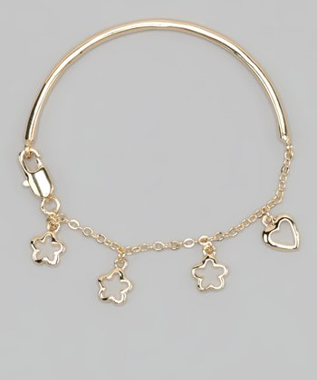 Gold Heart & Flower Bracelet