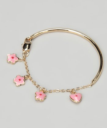 Gold & Pink Heart & Flower Bracelet