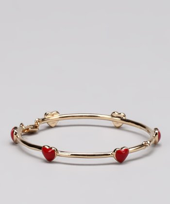Gold & Red Heart Bracelet