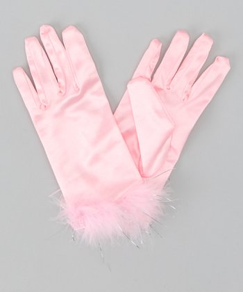 Pink Satin Gloves