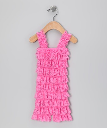 Dark Pink Lace Ruffle Romper - Infant & Toddler