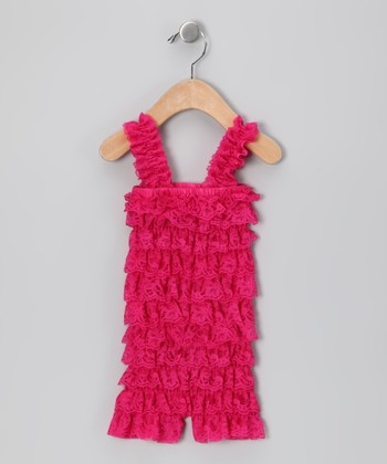 Hot Pink Lace Ruffle Romper - Infant