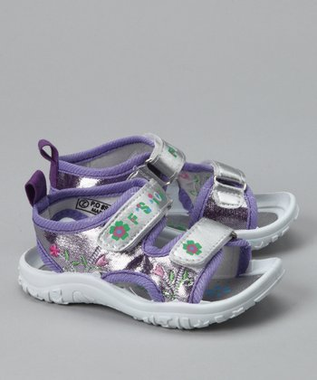 Purple & Silver Flower Sandal
