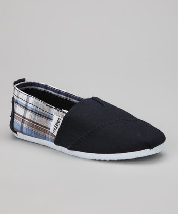 Blue Plaid Slip-On Shoe