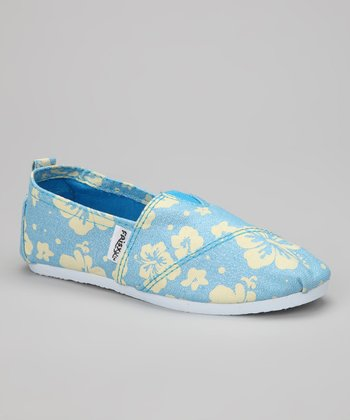 Light Blue Hibiscus Slip-On Sneaker