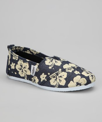 Navy Hibiscus Slip-On Sneaker