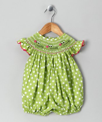 Frocks and Smocks Green Alligator Polka Dot Romper - Infant