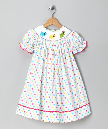 Frocks and Smocks White Puppy Polka Dot Dress - Infant & Toddler