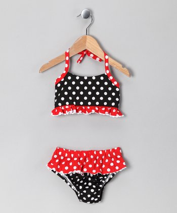 Red & Black Polka Dot Bikini - Infant